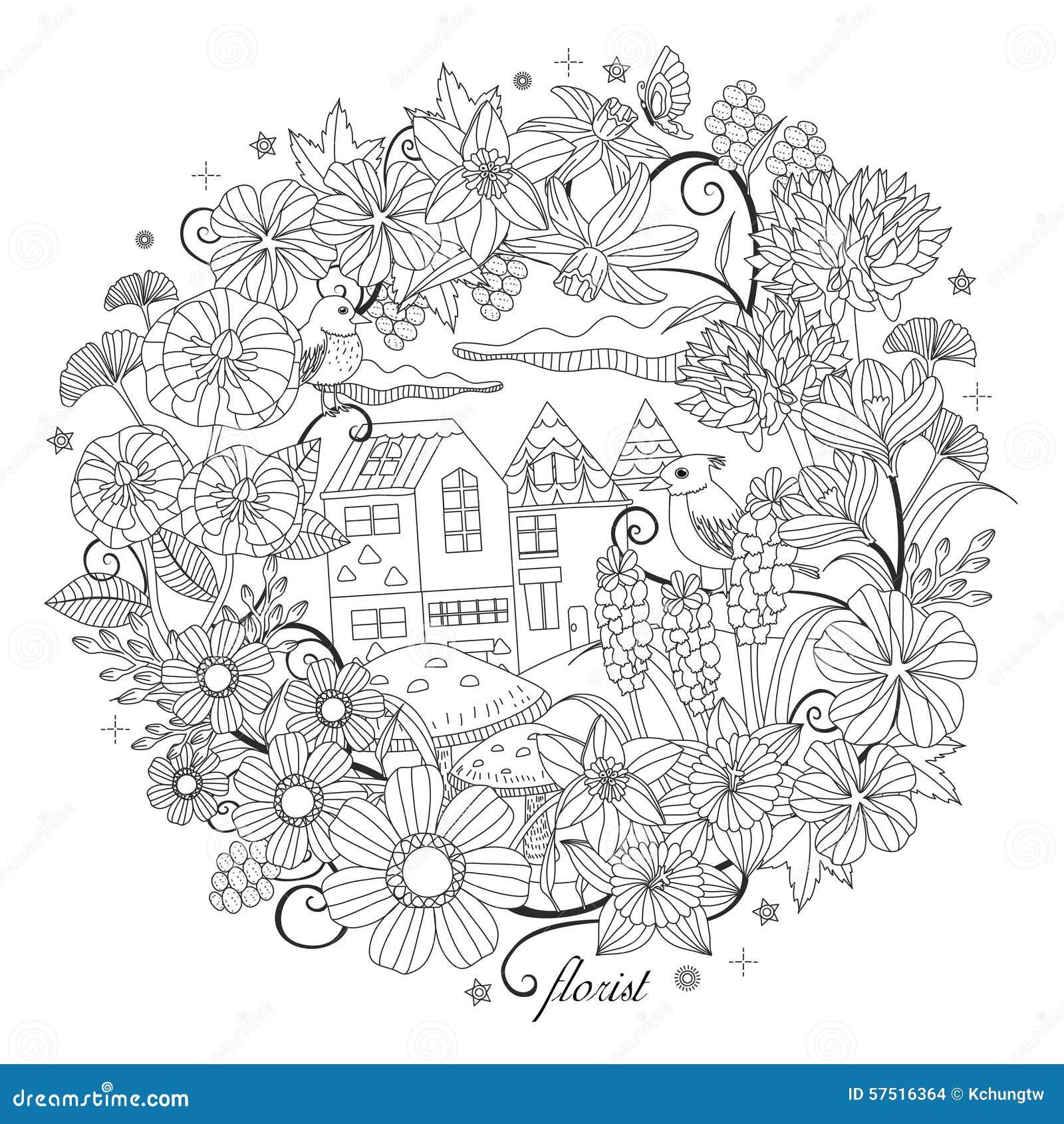 Paysage fantastique de jardin illustration stock image - Mandala paysage ...