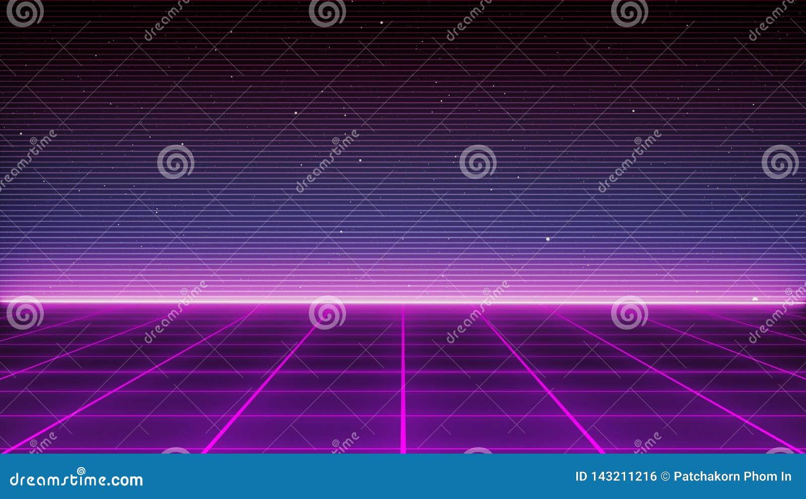 Paysage futuriste de rétro fond de la science fiction des années 80 Surface de Cyber de Digital