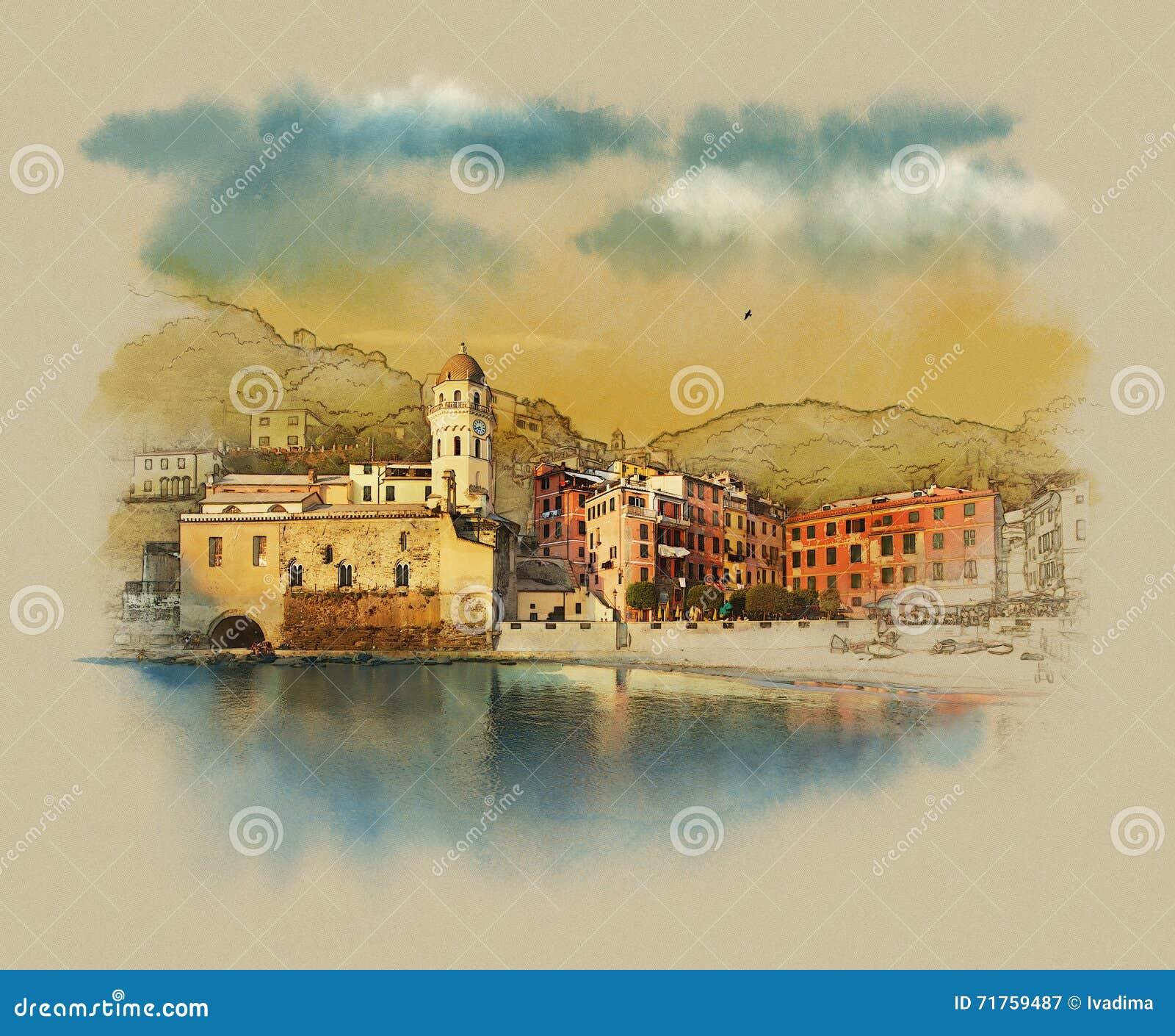 Paysage italien dans la station touristique de vernazza for Dans italien