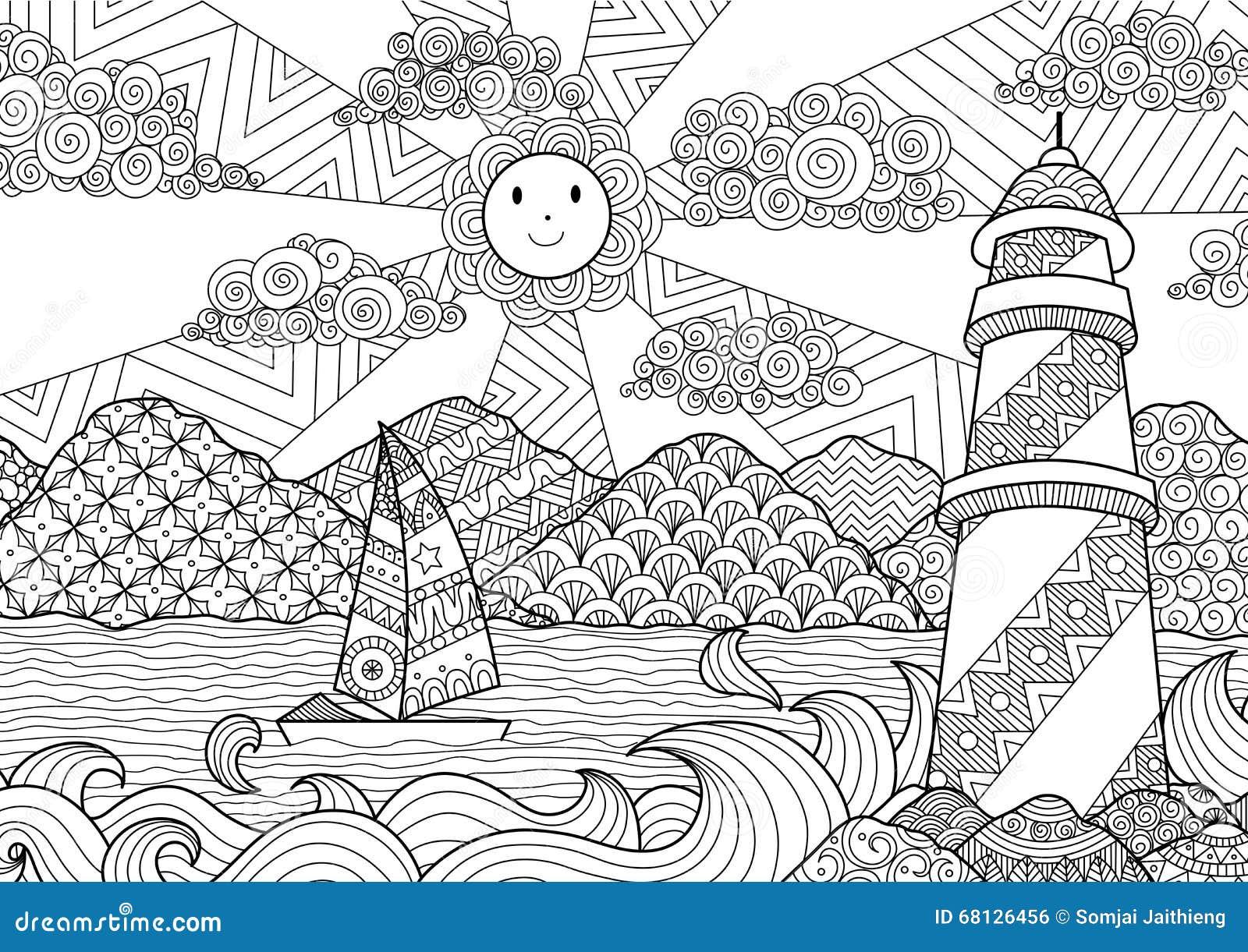 Paysage marin conception de schéma pour livre de coloriage pour l adulte anti coloration d effort actions