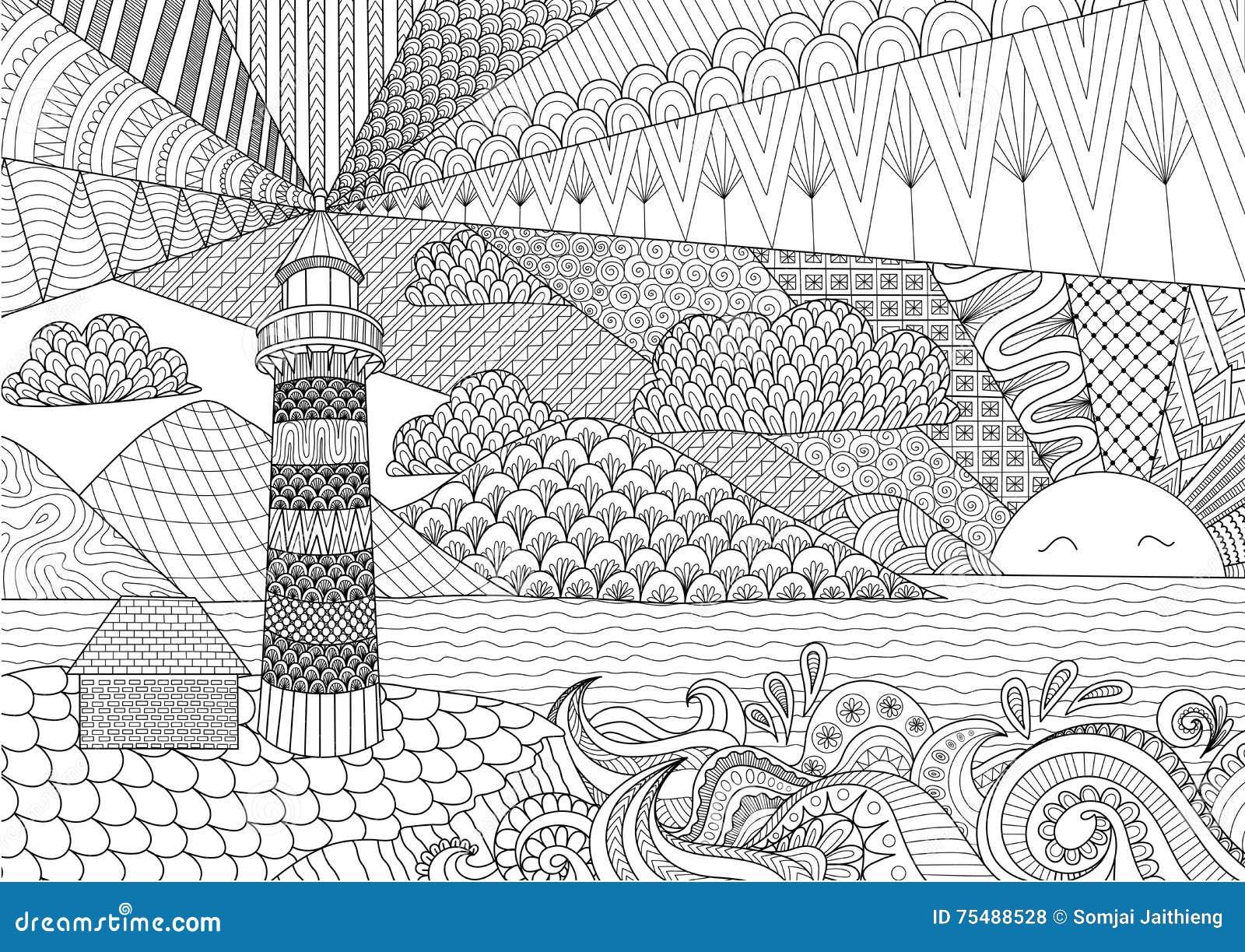 Livre de coloriages pour adultes les phares - Mandala paysage ...