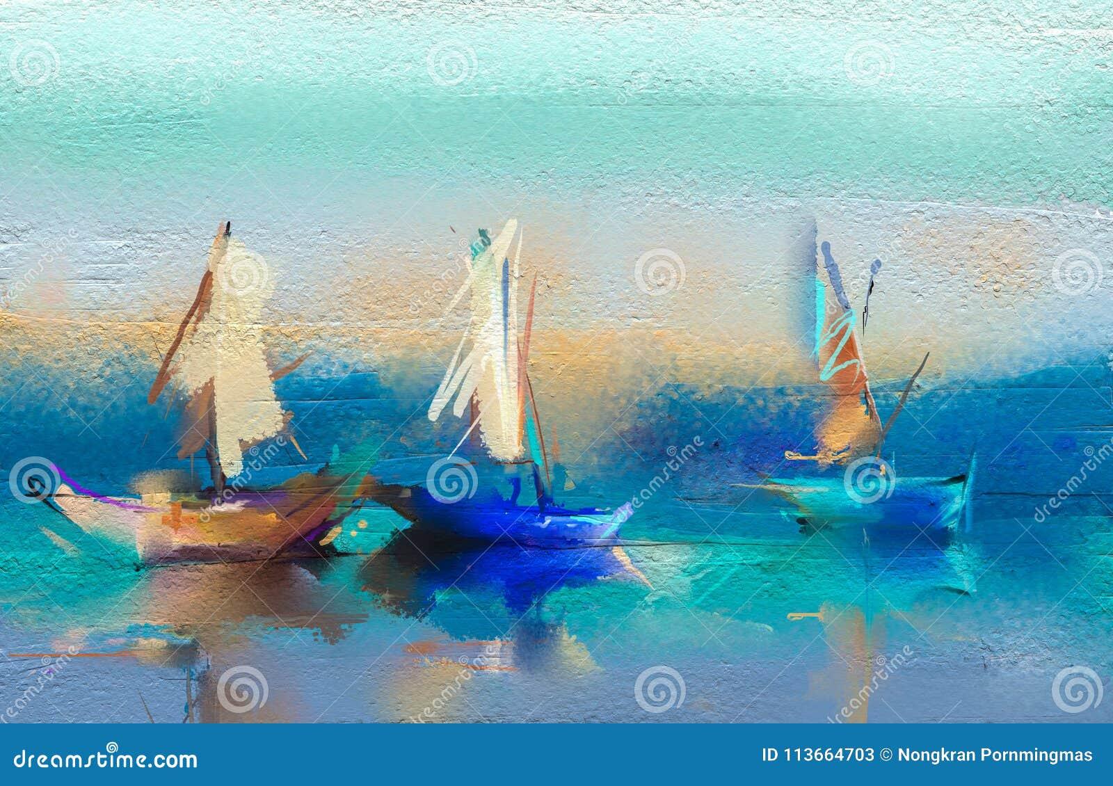 Paysage marin de peintures à l huile avec le bateau, voile sur la mer