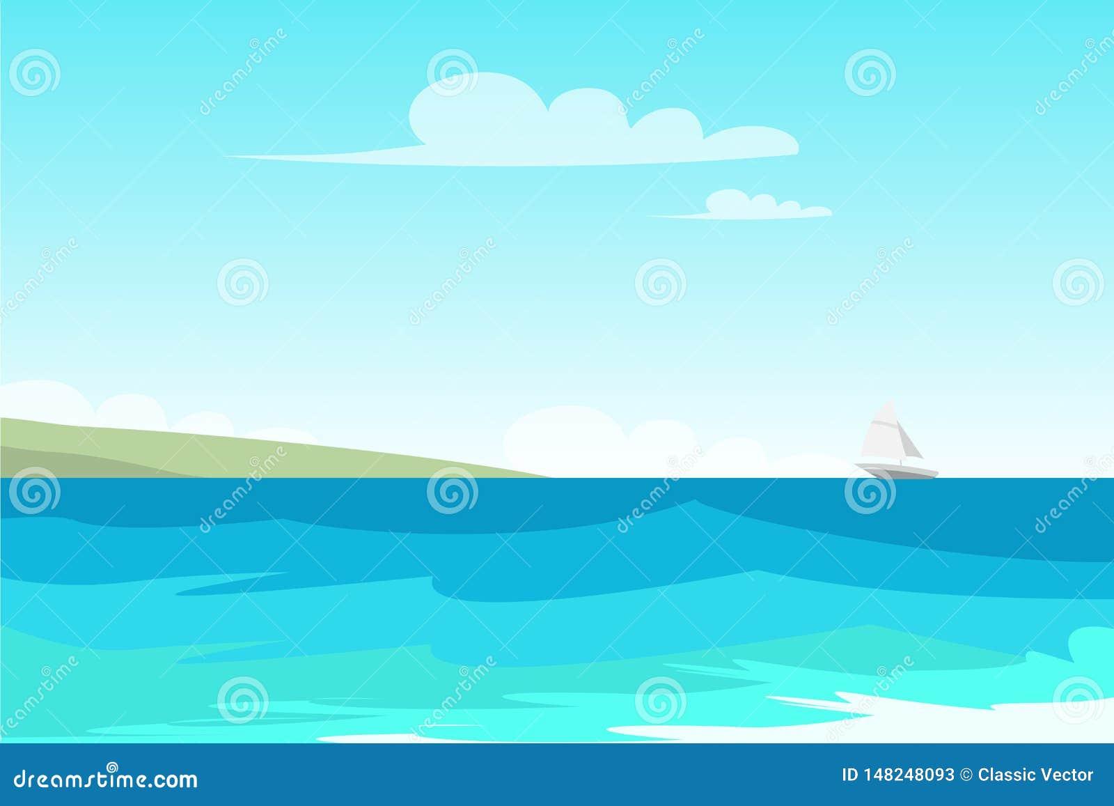 Paysage marin, illustration de couleur plate de vecteur de bord de la mer