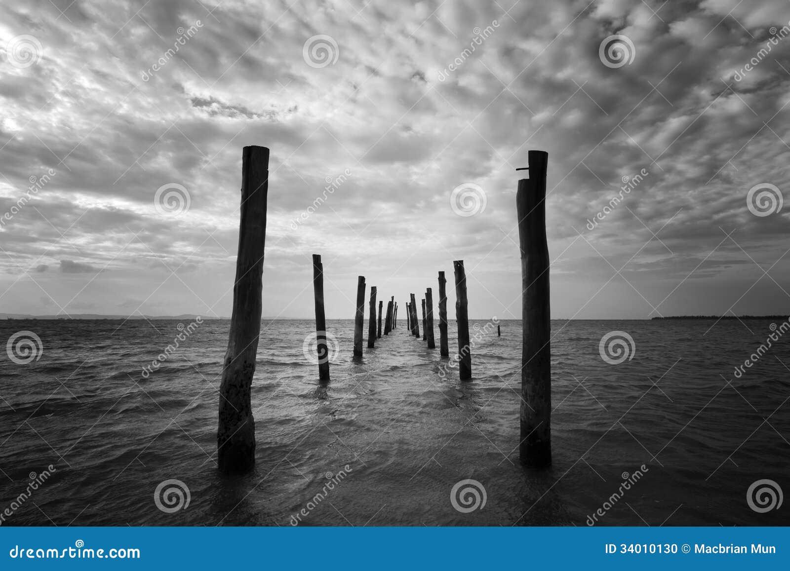 paysage marin noir et blanc avec les piliers en bois photo. Black Bedroom Furniture Sets. Home Design Ideas