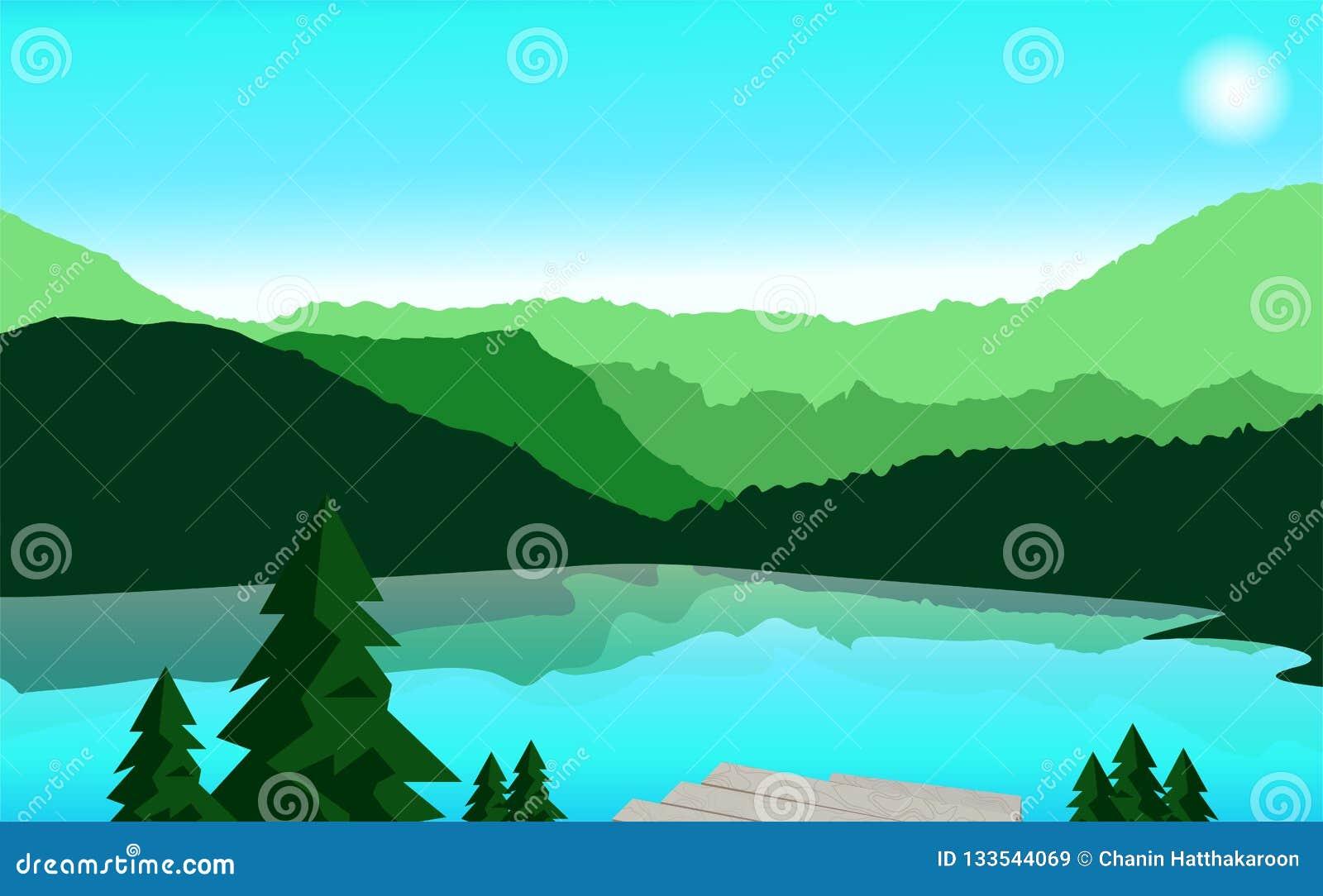 Paysage, montagne et illustration de déplacement de vecteur Montagne