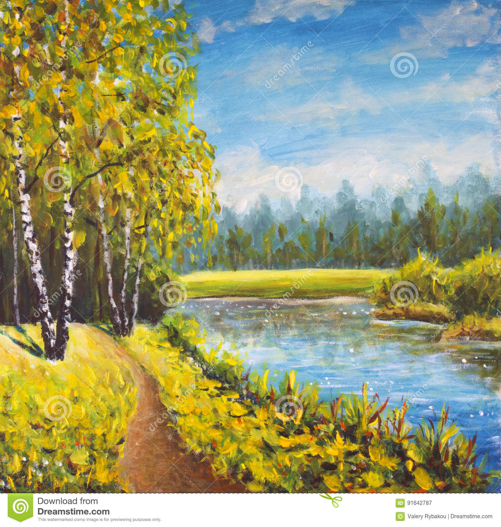 Paysage Original Dété De Peinture à Lhuile Nature Ensoleillée Sur