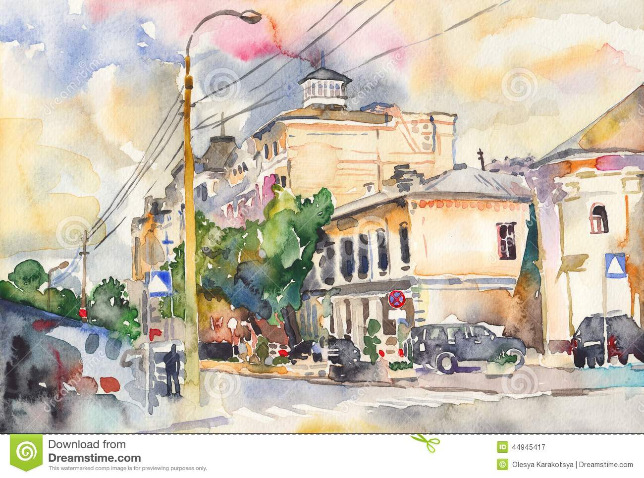 Paysage original de ville d 39 aquarelle illustration stock for Paysage de ville