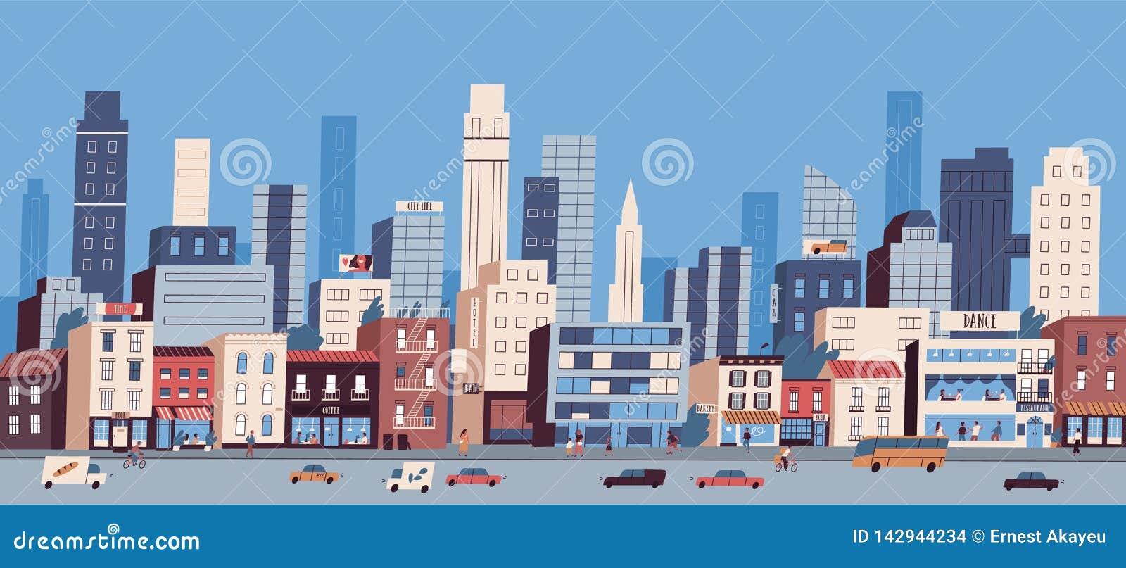Paysage ou paysage urbain urbain avec des b?timents, des gratte-ciel et le transport montant le long de la route La grande vie de