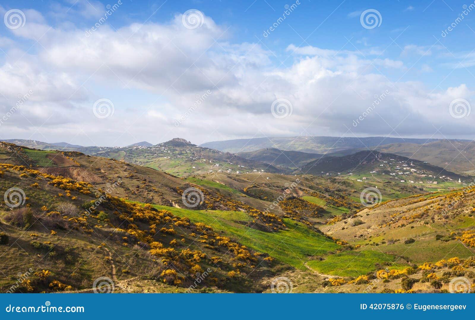 Paysage panoramique large de montagne tanger maroc photo for Paysage vert