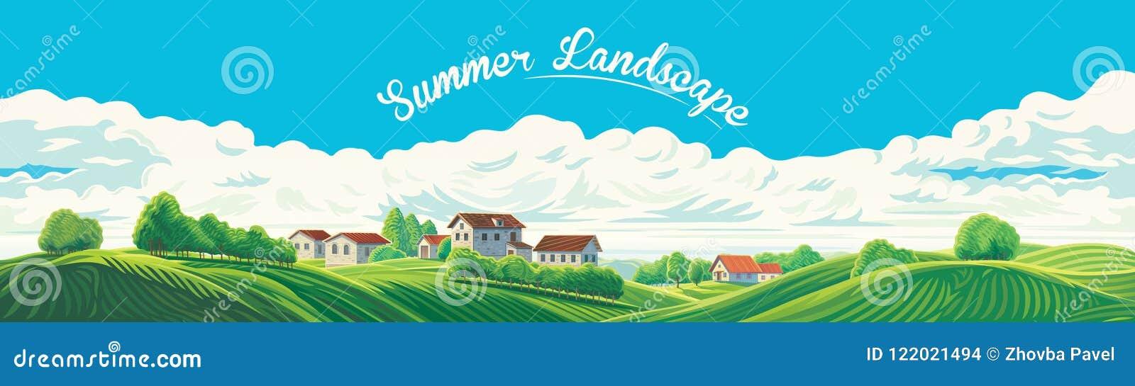 Paysage panoramique rural avec un village et des collines avec