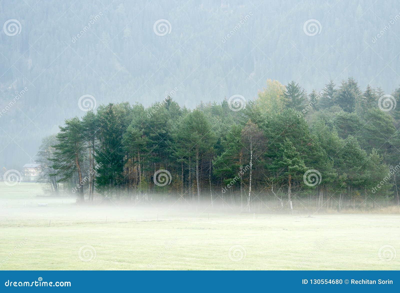 Paysage rêveur perdu en brouillard épais, Valle di Casies