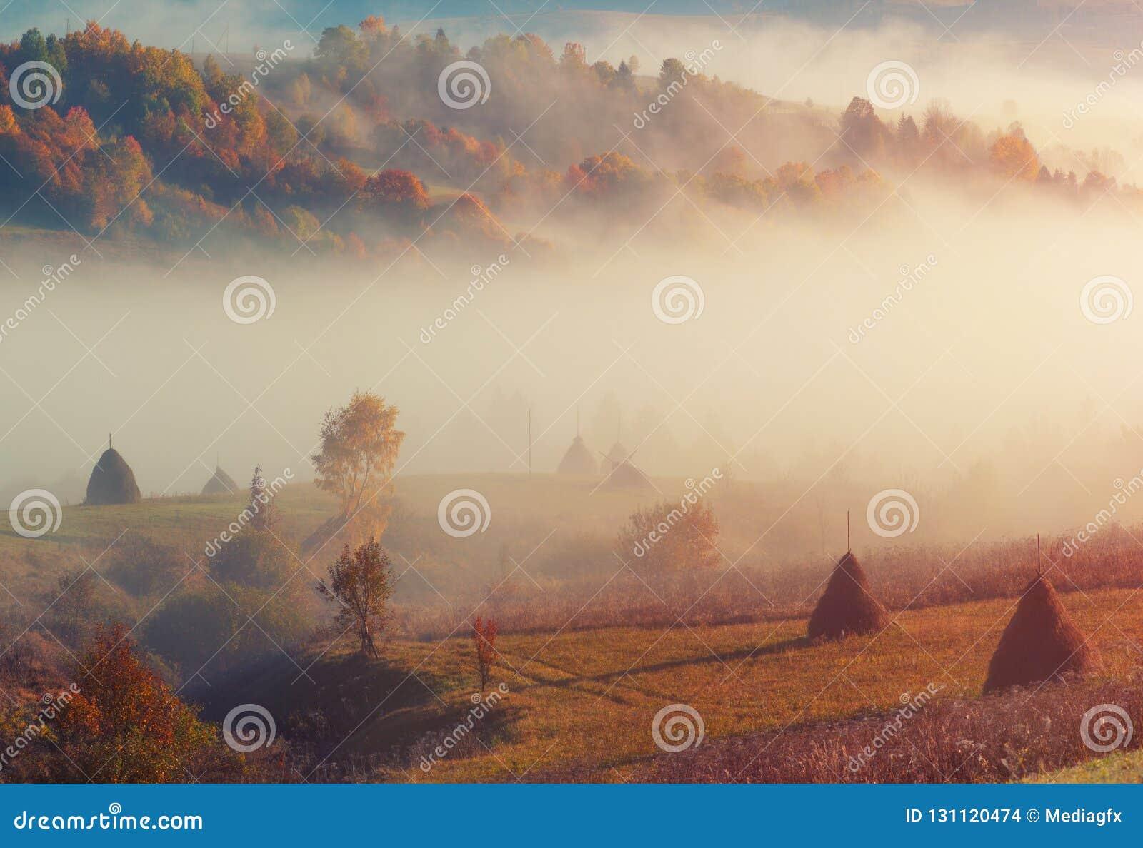 Paysage rural de colline de montagne de campagne avec la meule de foin et le brouillard de matin