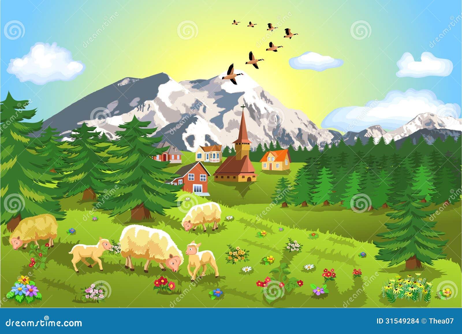 paysage rustique de montagne illustration de vecteur illustration du agneau ferme 31549284. Black Bedroom Furniture Sets. Home Design Ideas