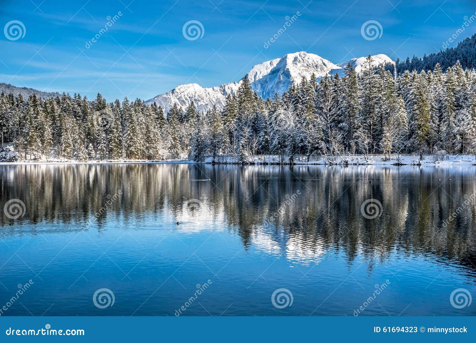 Paysage scénique d hiver dans les Alpes bavarois au lac Hintersee, Allemagne de montagne