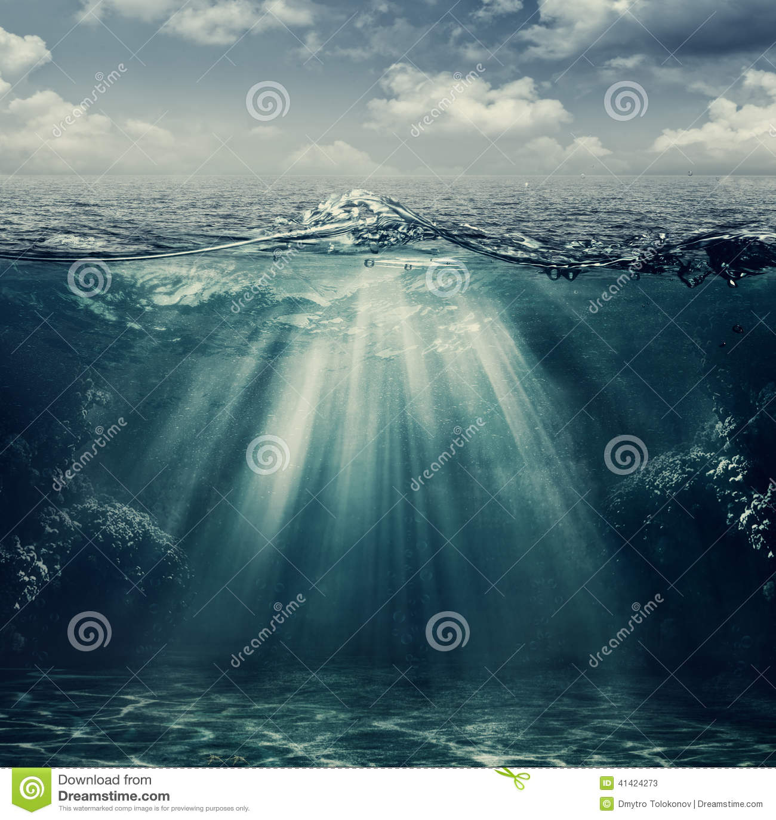 Paysage sous-marin de rétro style