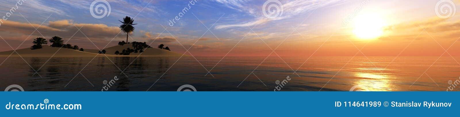 Paysage tropical, plage avec des palmiers au coucher du soleil