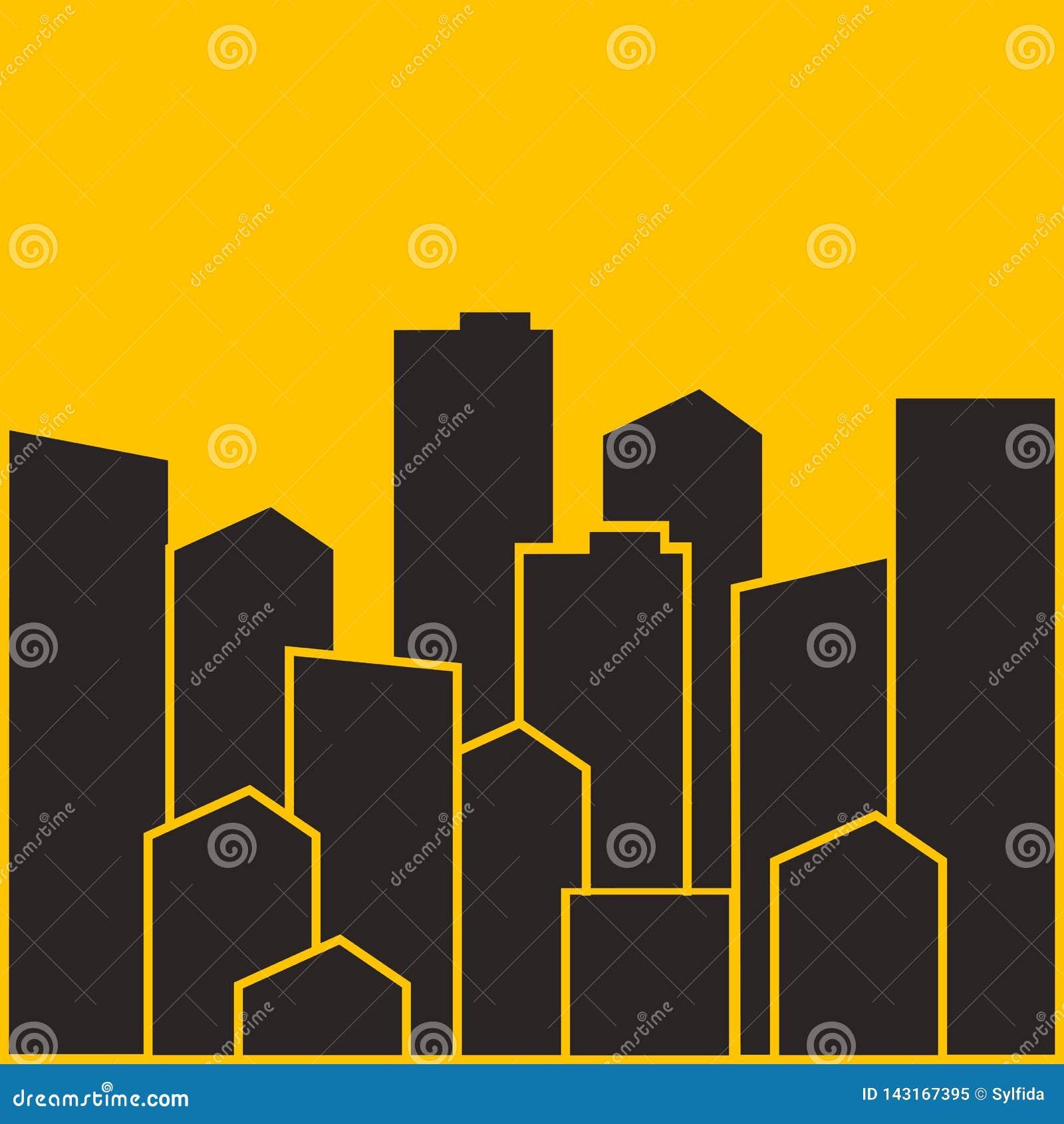 Paysage urbain Bâtiments modernes de ville, logeant le secteur, maisons de ville Illustration de vecteur