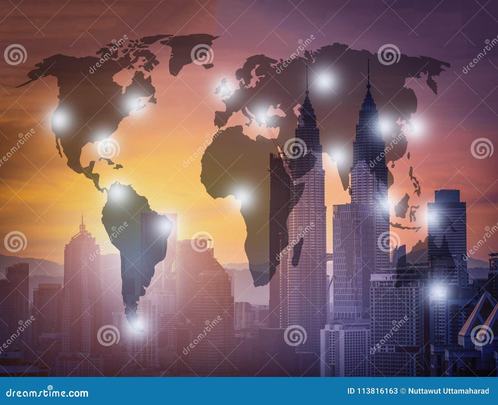 Carte Du Monde Kuala Lumpur.Paysage Urbain D Horizon De Ville De Kuala Lumpur Au Lever De Soleil
