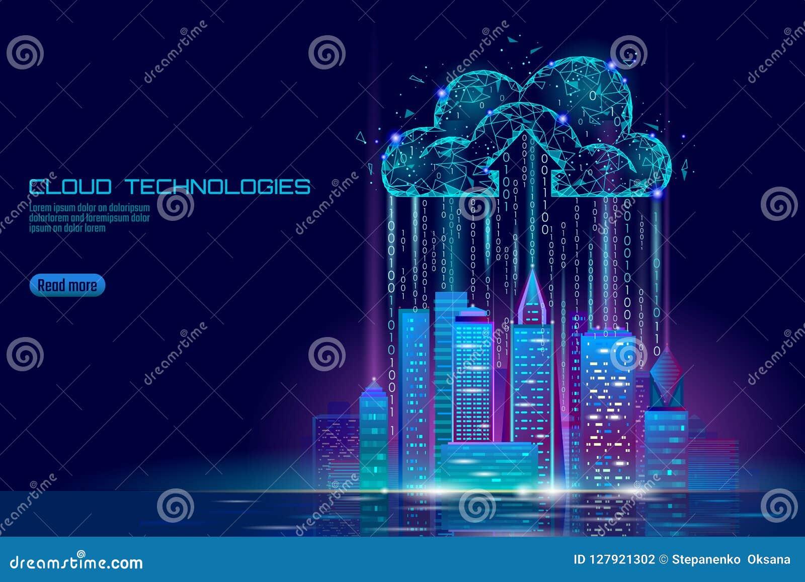 Paysage urbain de calcul de la ville 3D de nuage futé de lumière Affaires futuristes en ligne stockage d échange de données intel