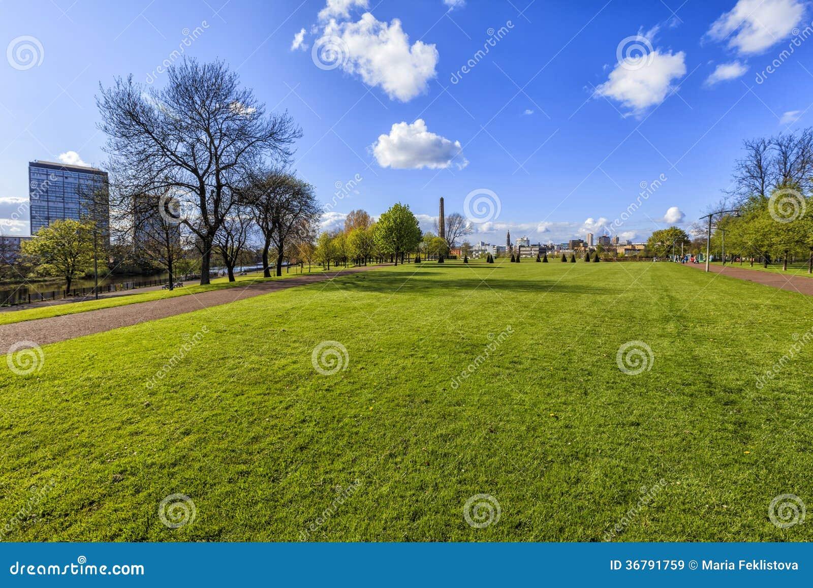 Paysage urbain de Glasgow, vue du parc