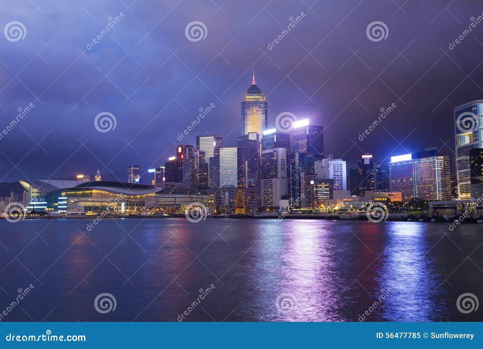 Paysage urbain de Hong Kong au crépuscule