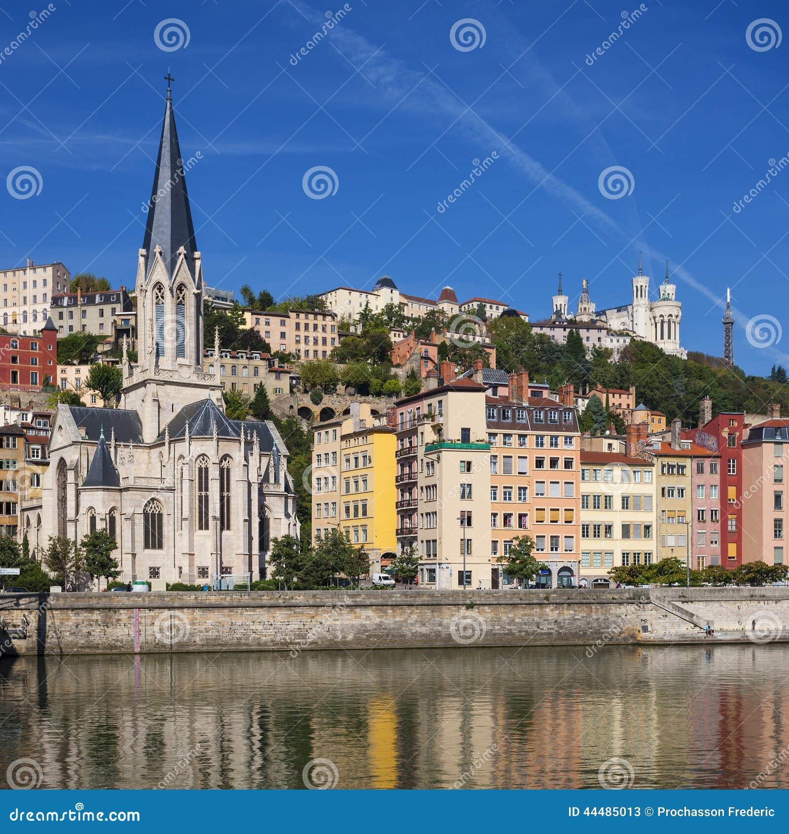 Paysage urbain de lyon image stock image du c te lyon for Agence paysage lyon