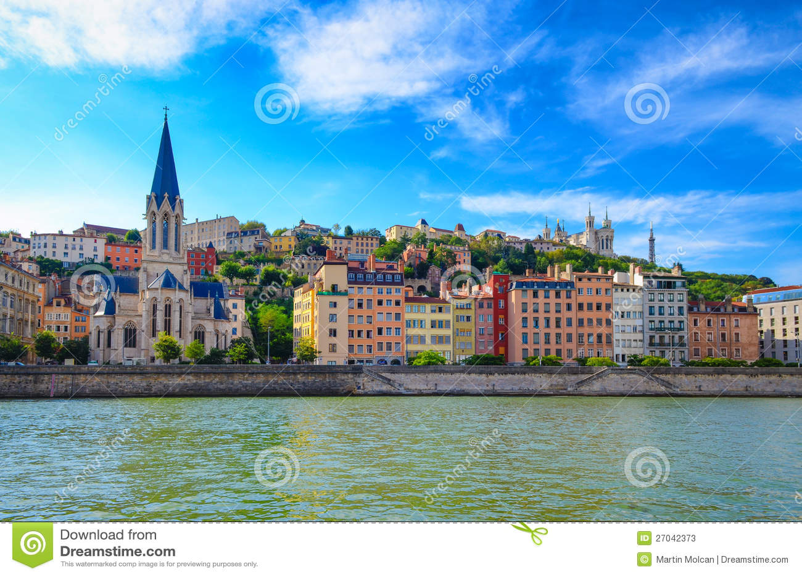 Paysage urbain de lyon de fleuve de saone photos stock for Agence paysage lyon