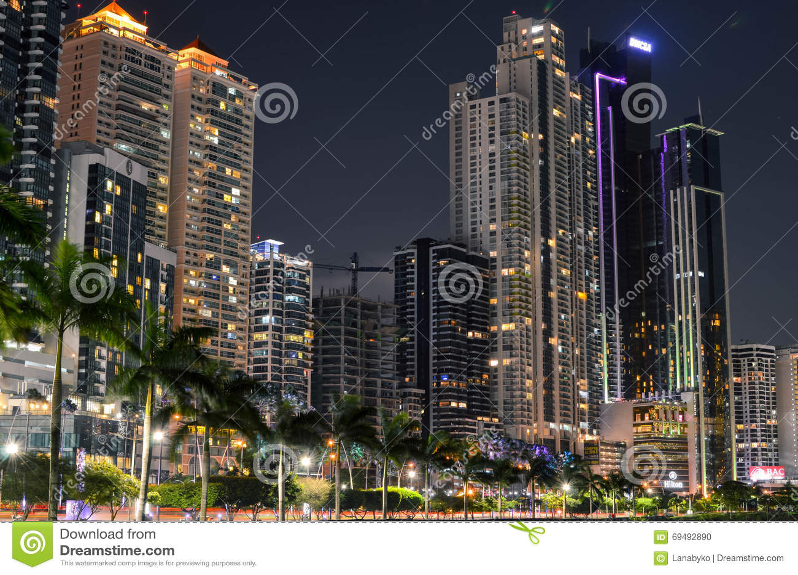Paysage Urbain De Nuit De Panamá City, Panama, Amérique Centrale Image éditor -> Amérique Ville Nuit