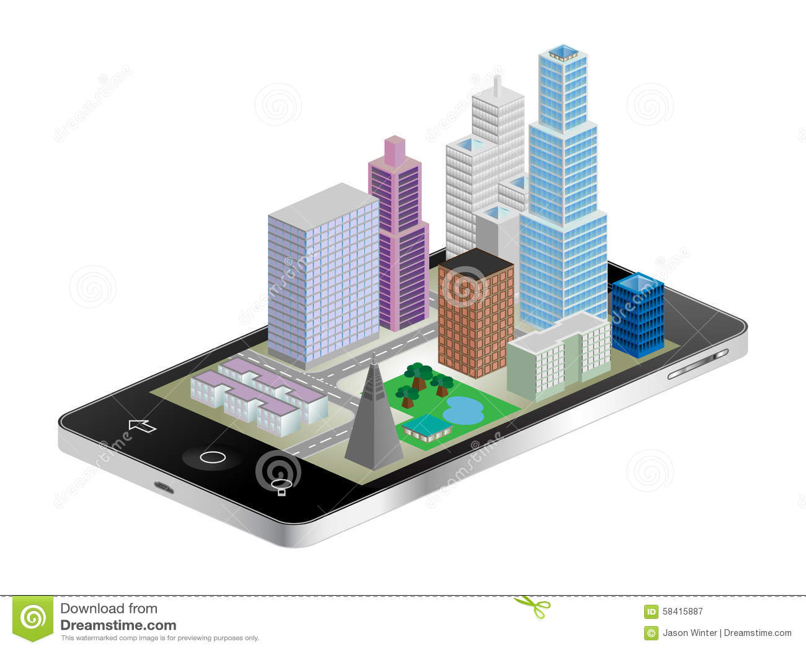 illustration stock paysage urbain de tlphone image