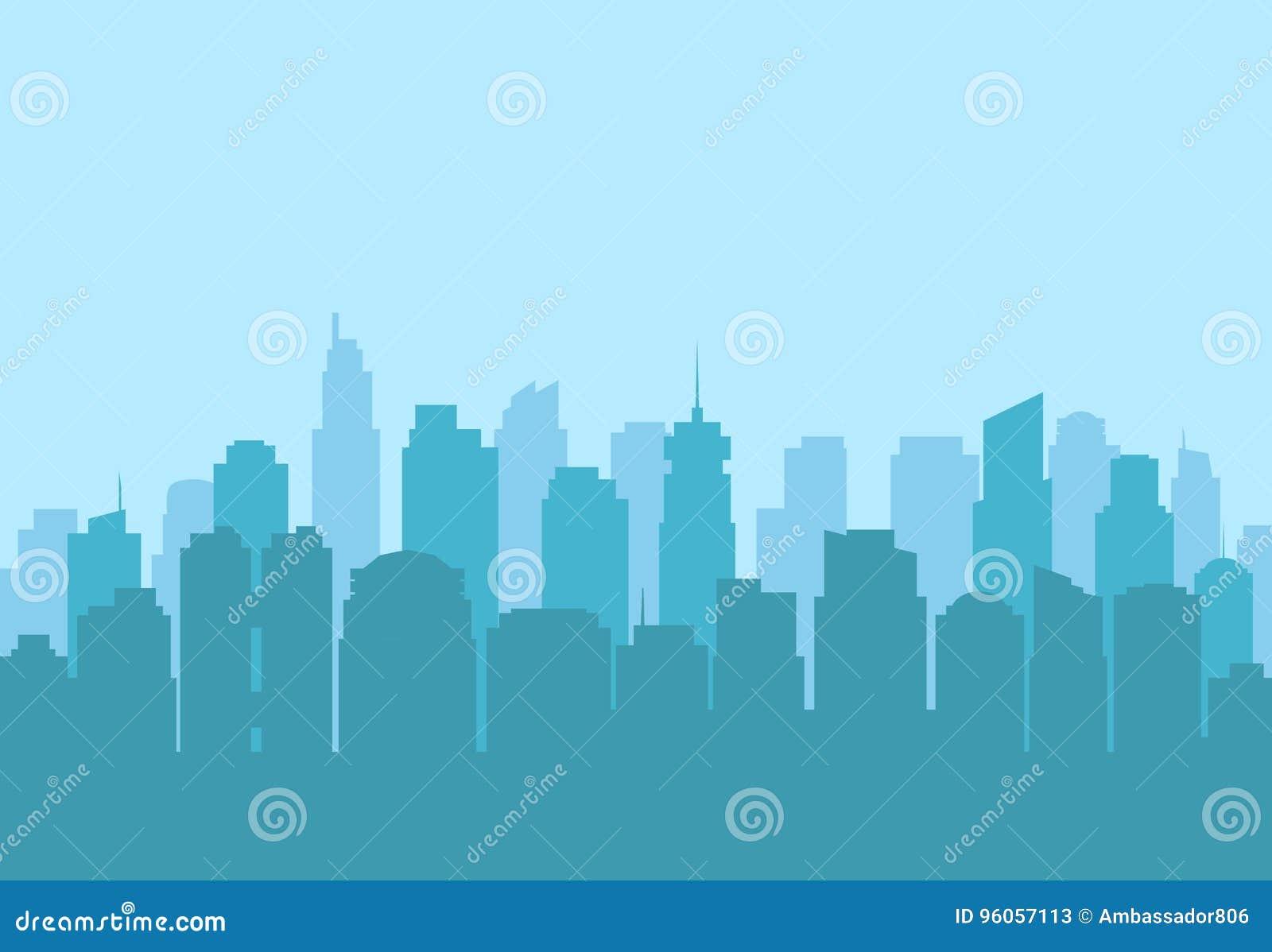 Paysage urbain de ville, silhouette moderne de gratte-ciel Fond de vecteur