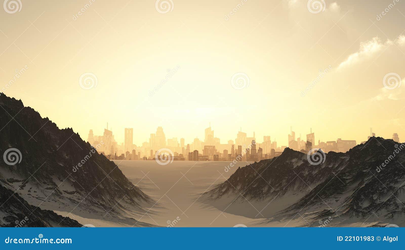 Paysage urbain futuriste en coucher du soleil de l hiver