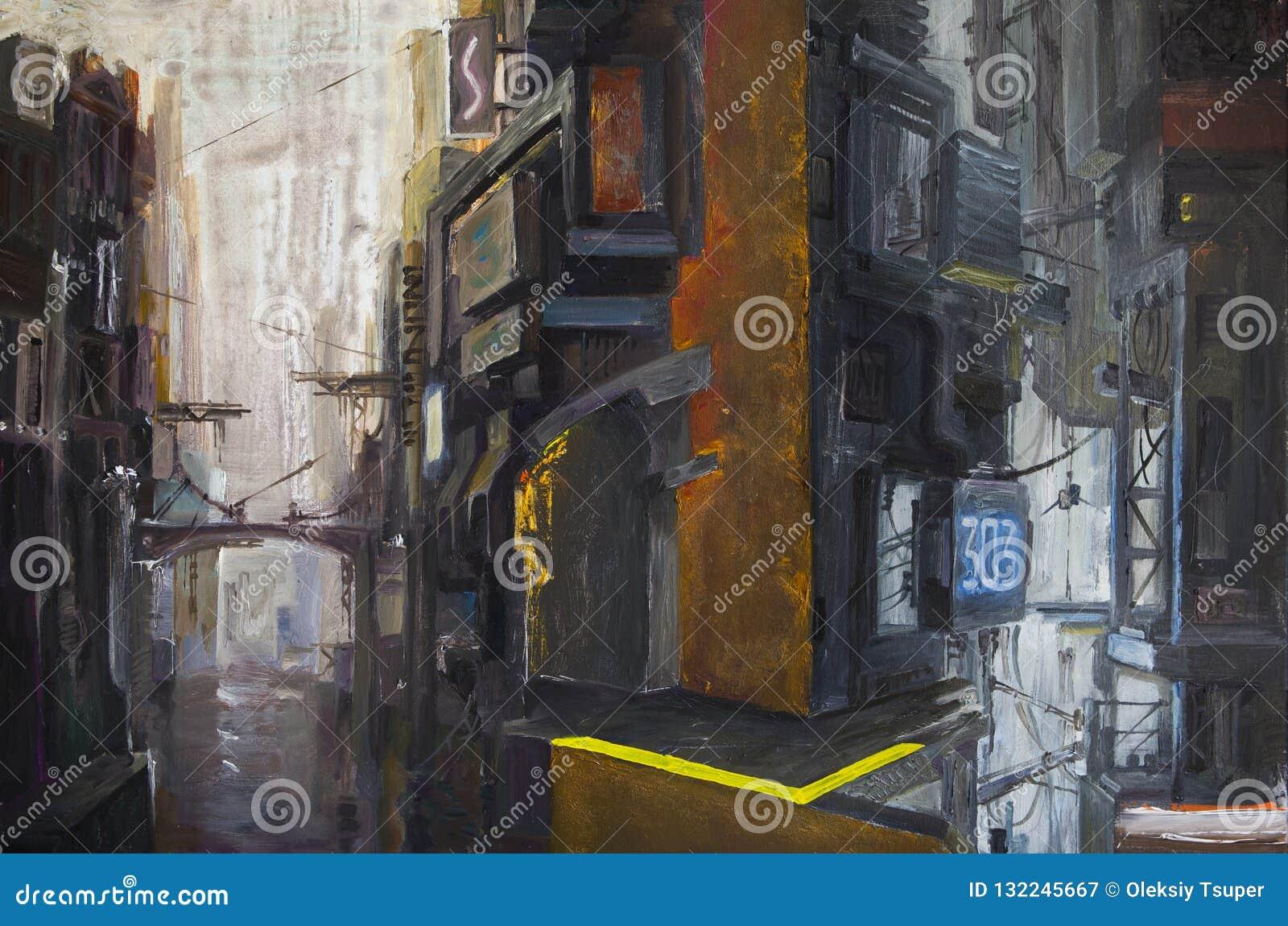Paysage urbain futuriste foncé