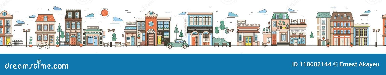Paysage urbain horizontal sans couture avec la rue de ville Paysage urbain avec de beaux bâtiments, maisons résidentielles, bouti