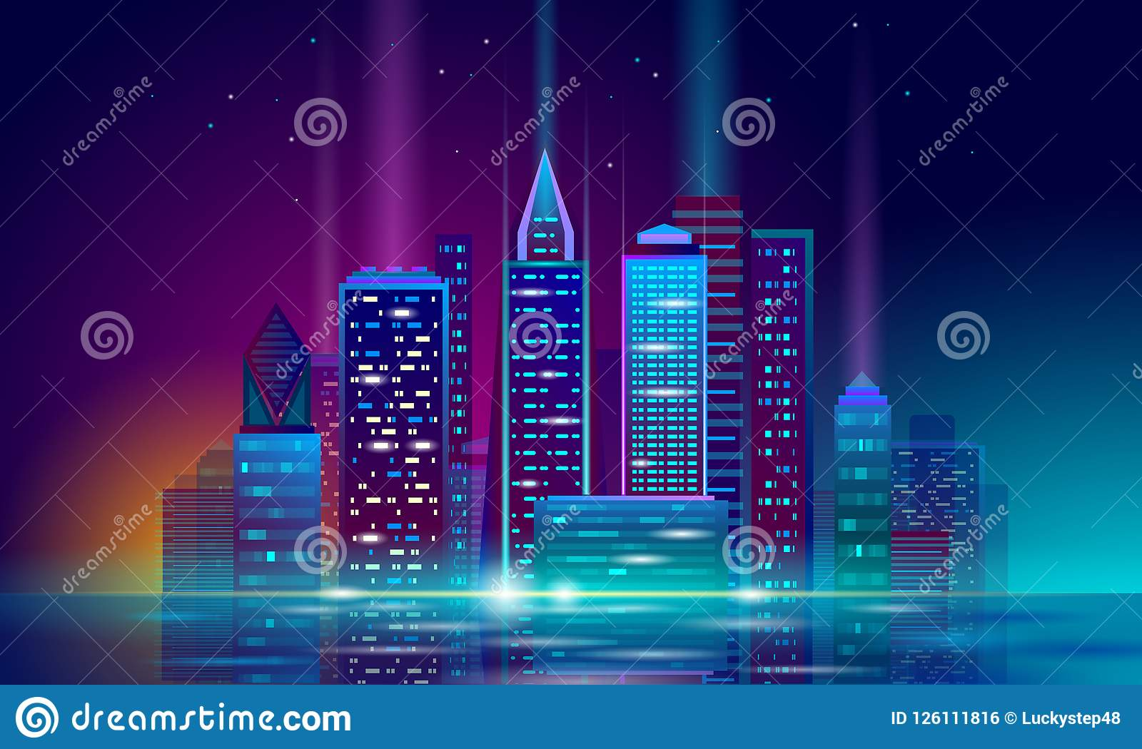 Paysage urbain rougeoyant de néon futé de la ville 3D Concept futuriste d affaires de bâtiment de nuit intelligente d automation