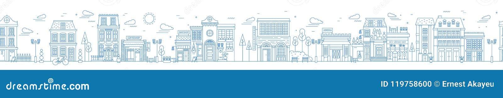 Paysage urbain sans couture monochrome avec la rue ou le secteur de ville Paysage urbain avec les maisons résidentielles et les b