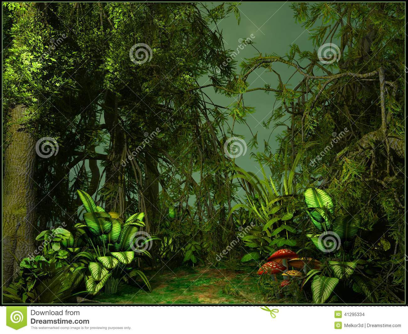 paysage vert de jungle illustration stock image 41295334. Black Bedroom Furniture Sets. Home Design Ideas