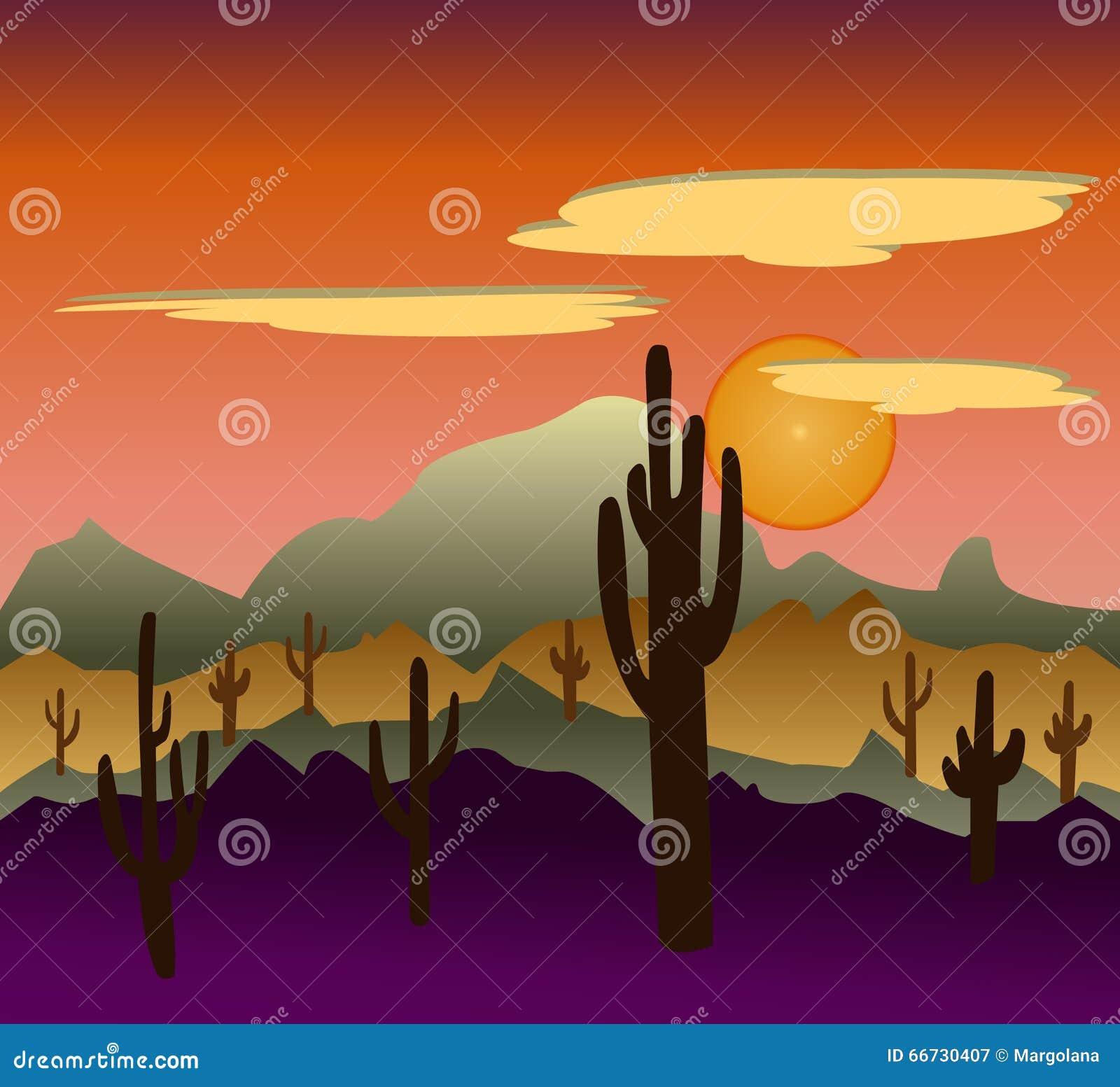 Paysages sauvages de nature de désert avec le cactus