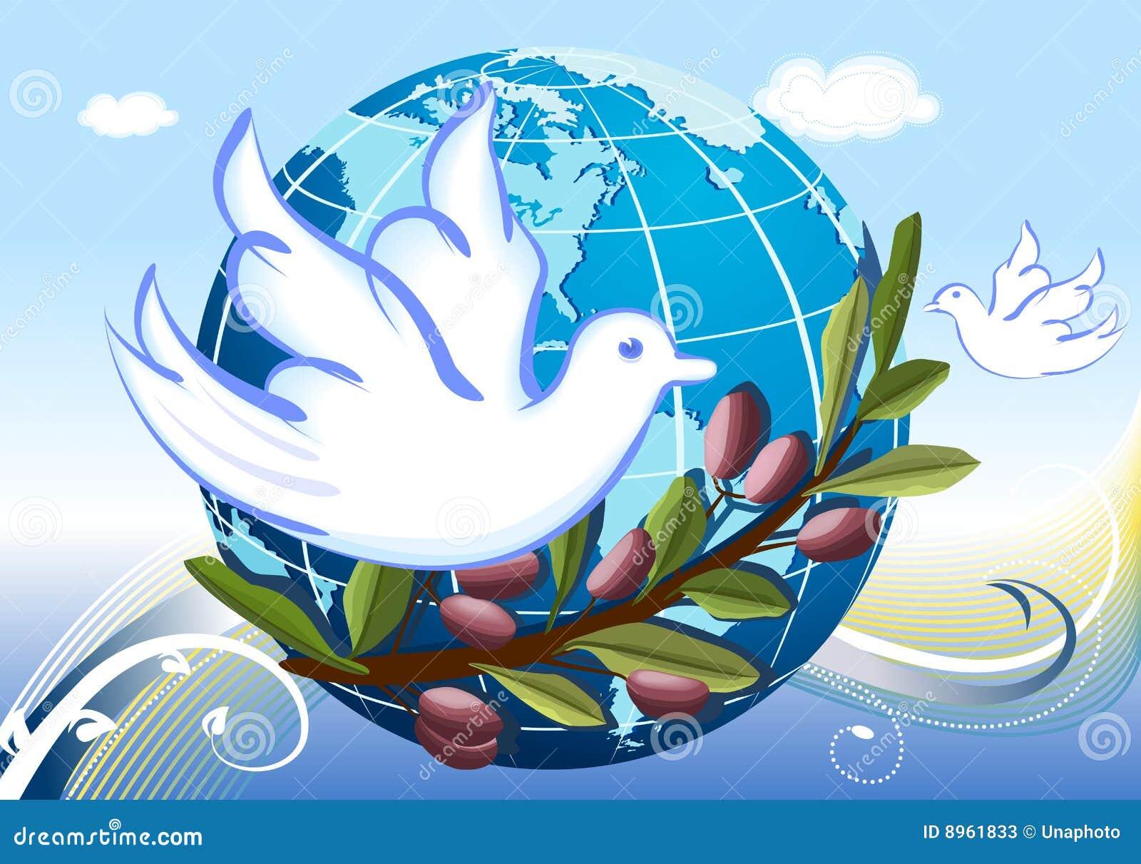 Paz Para El Mundo: Paz Ao Mundo Com Pombas Brancas Ilustração Do Vetor