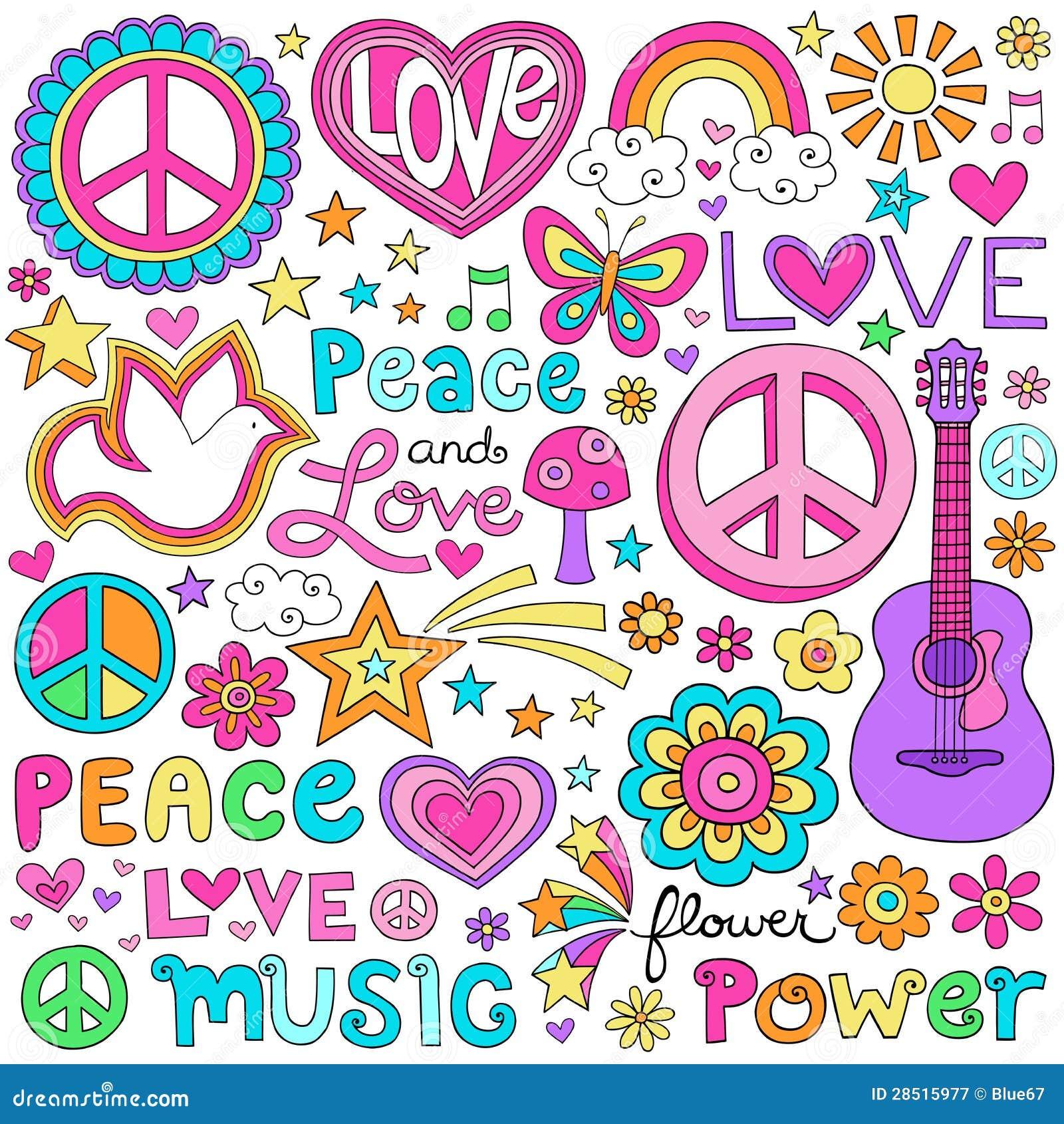 Paz de flower power e garatujas atraentes do amor