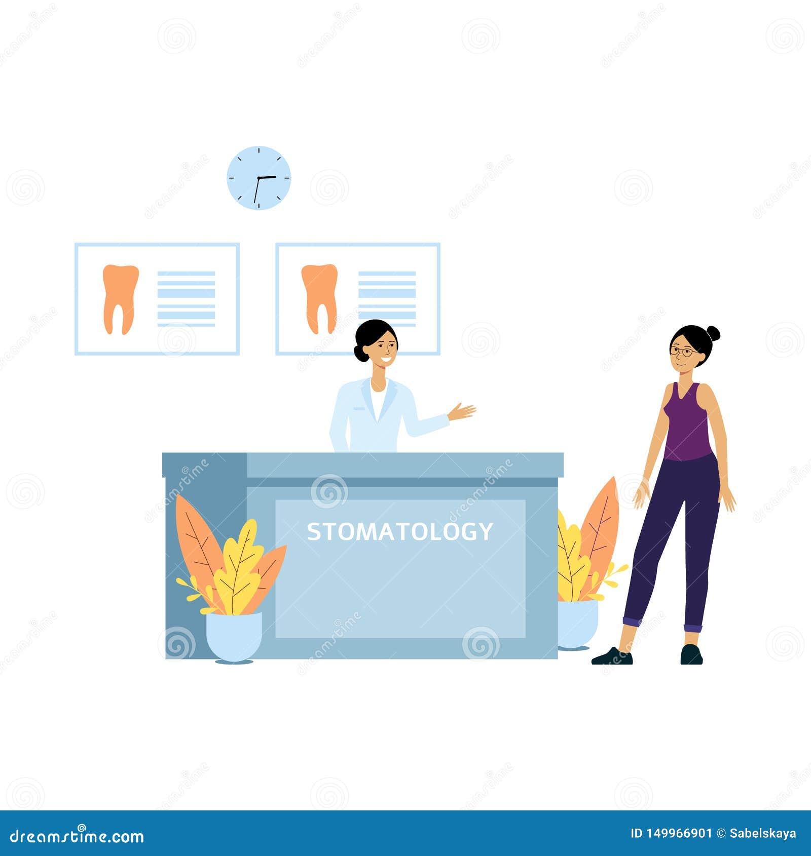 Paziente femminile alla reception della clinica del dentista Il receptionist amichevole accoglie favorevolmente il cliente all uf