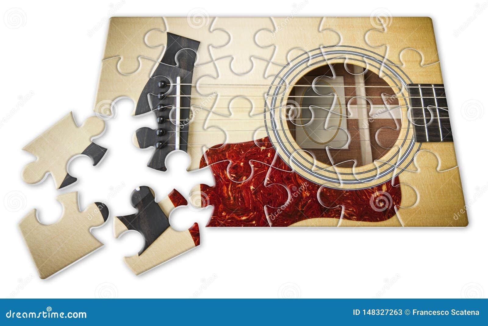 Pazienza e passione da imparare giocare la chitarra graduale - immagine di concetto nella forma di puzzle