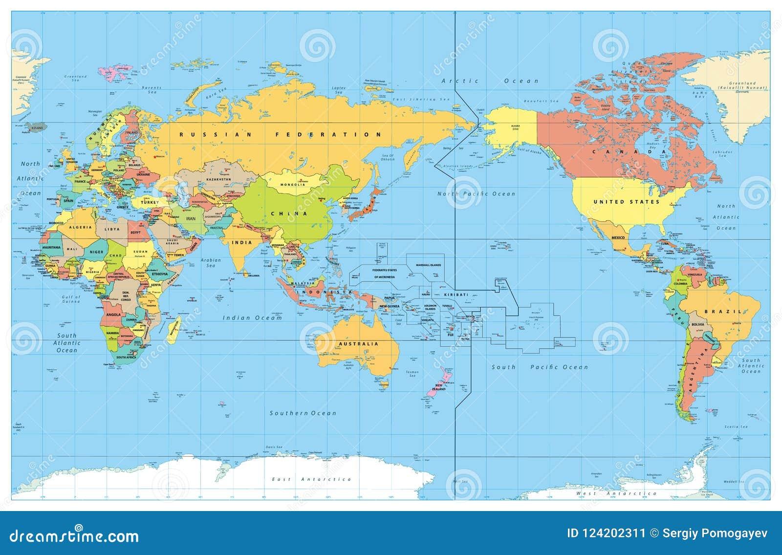 pazifik karte Pazifik Zentrierte Weltfarbige Karte Keine Tiefenmessung Vektor