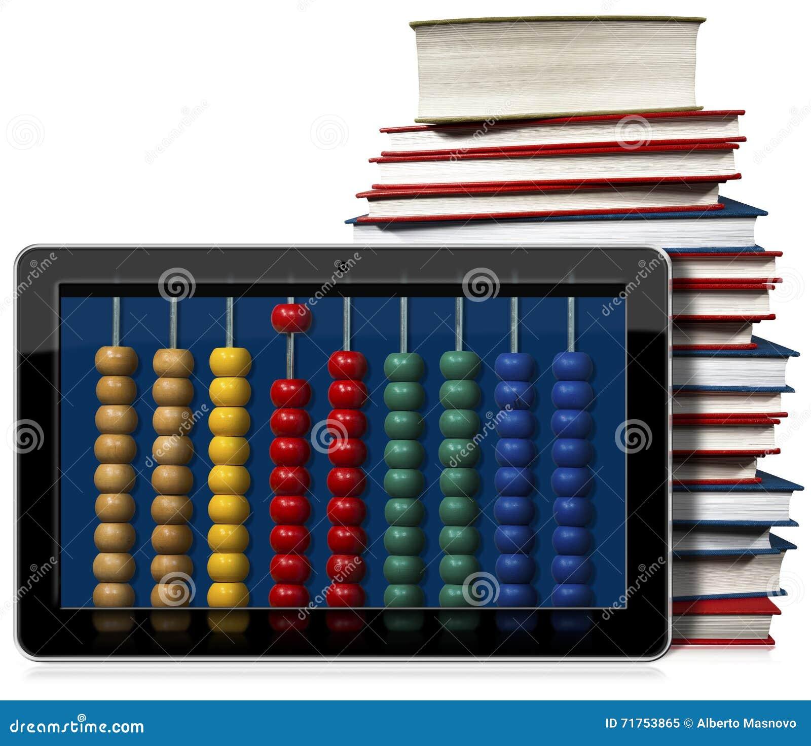 PC ταμπλετών με το ζωηρόχρωμους άβακα και τα βιβλία