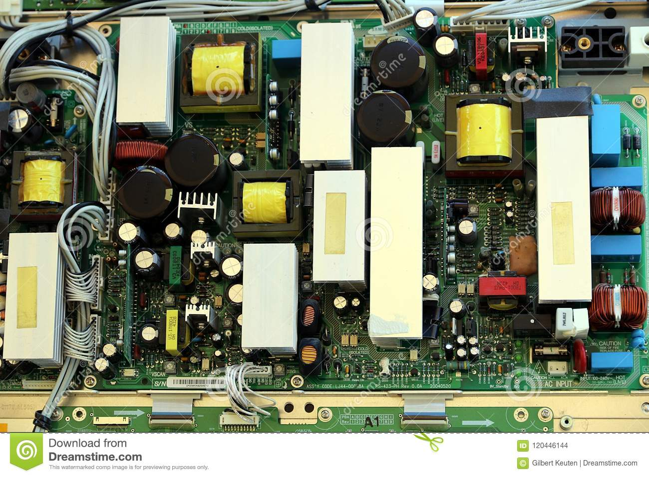 Pc Board With Electronic Parts Stock Photo Image Of Printed Circuit Components Inside A Computer From The Plasma Color Tv
