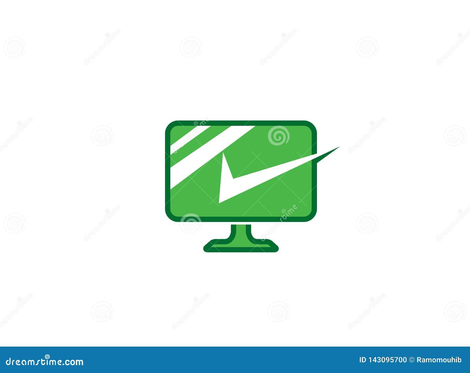 PC con una pantalla de ordenador verde grande de la marca de cotejo el icono linear con la marca de verificación para el ejemplo