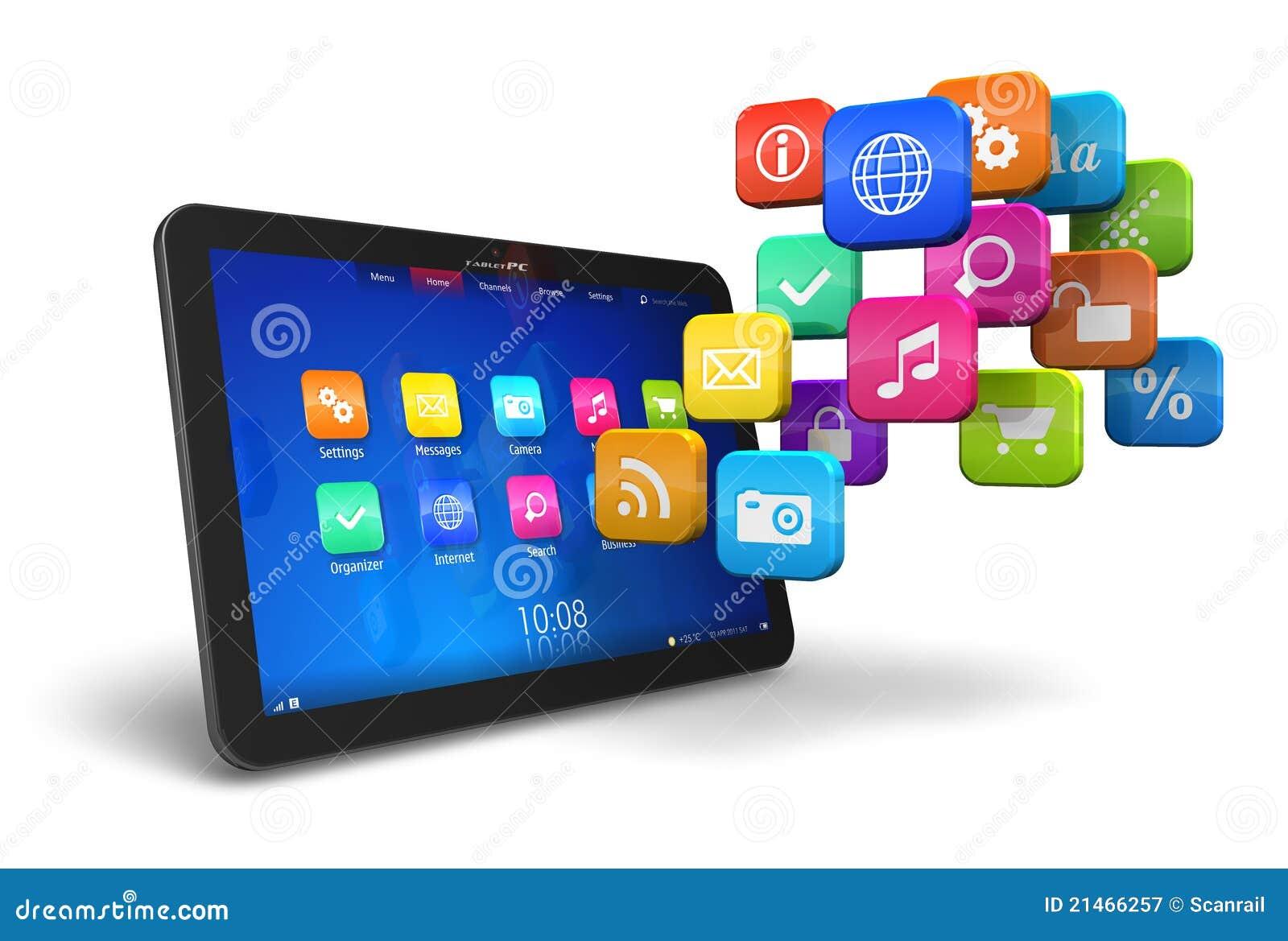PC da tabuleta com a nuvem de ícones da aplicação