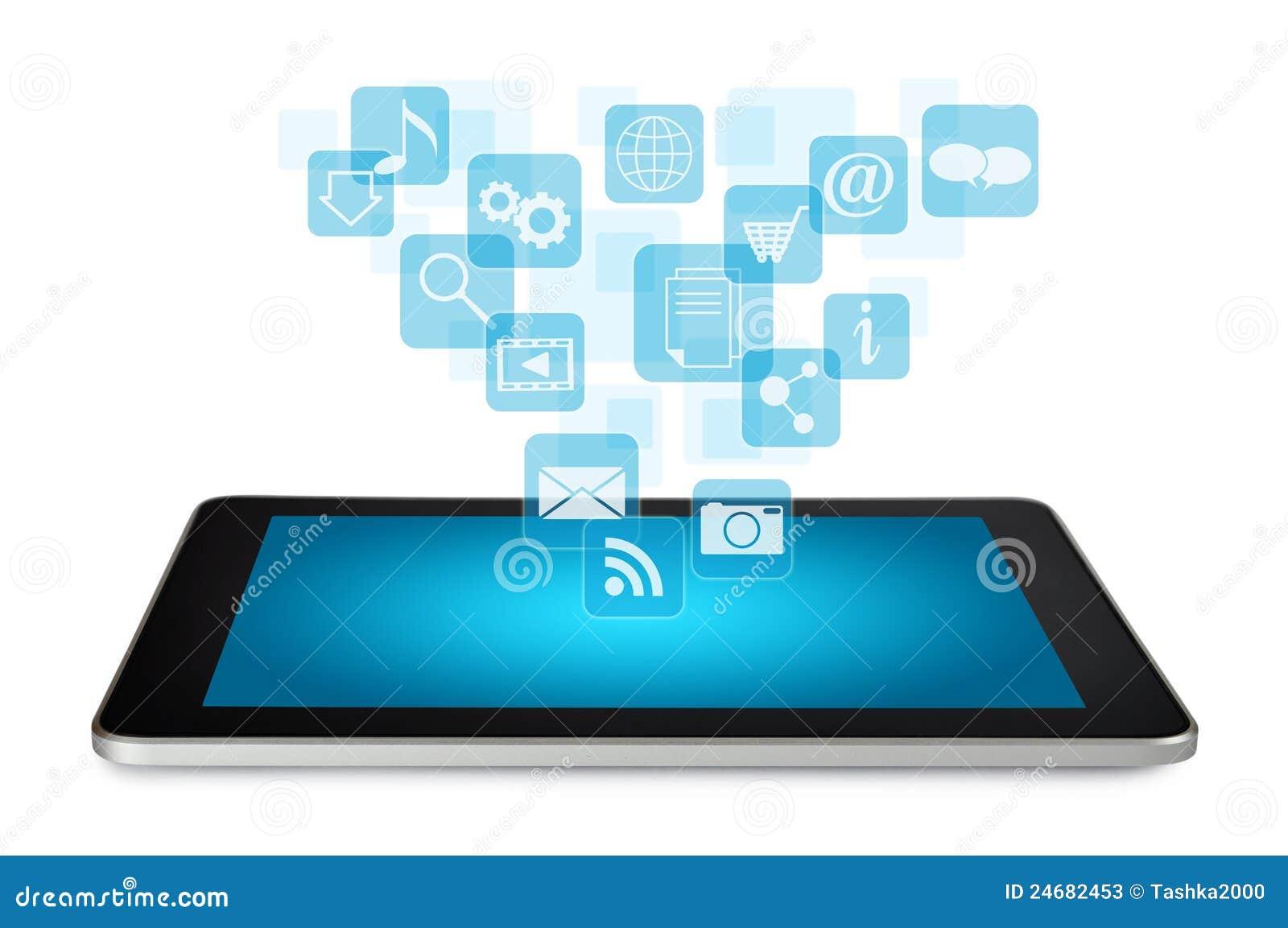 PC de la tablilla con los iconos de la aplicación