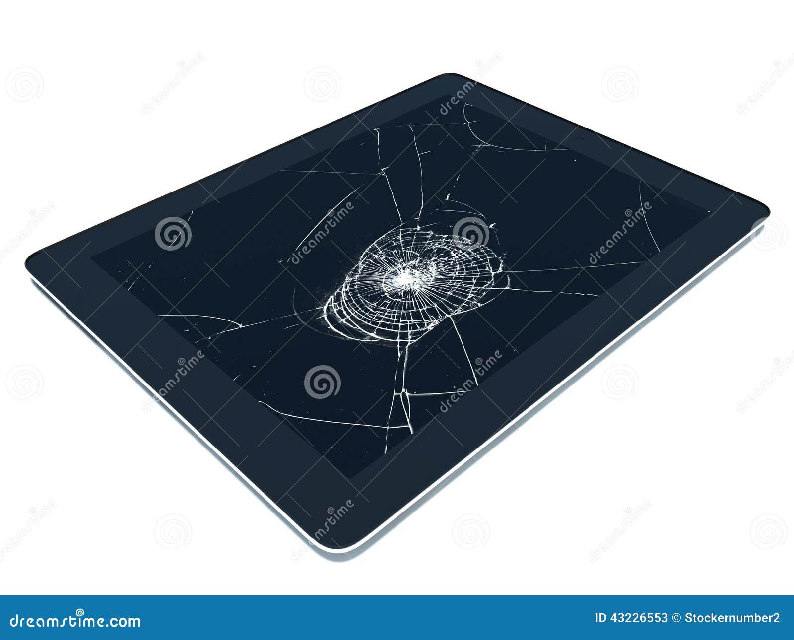 pc de tablette avec l 39 cran cass illustration stock illustration du cellule noir 43226553. Black Bedroom Furniture Sets. Home Design Ideas