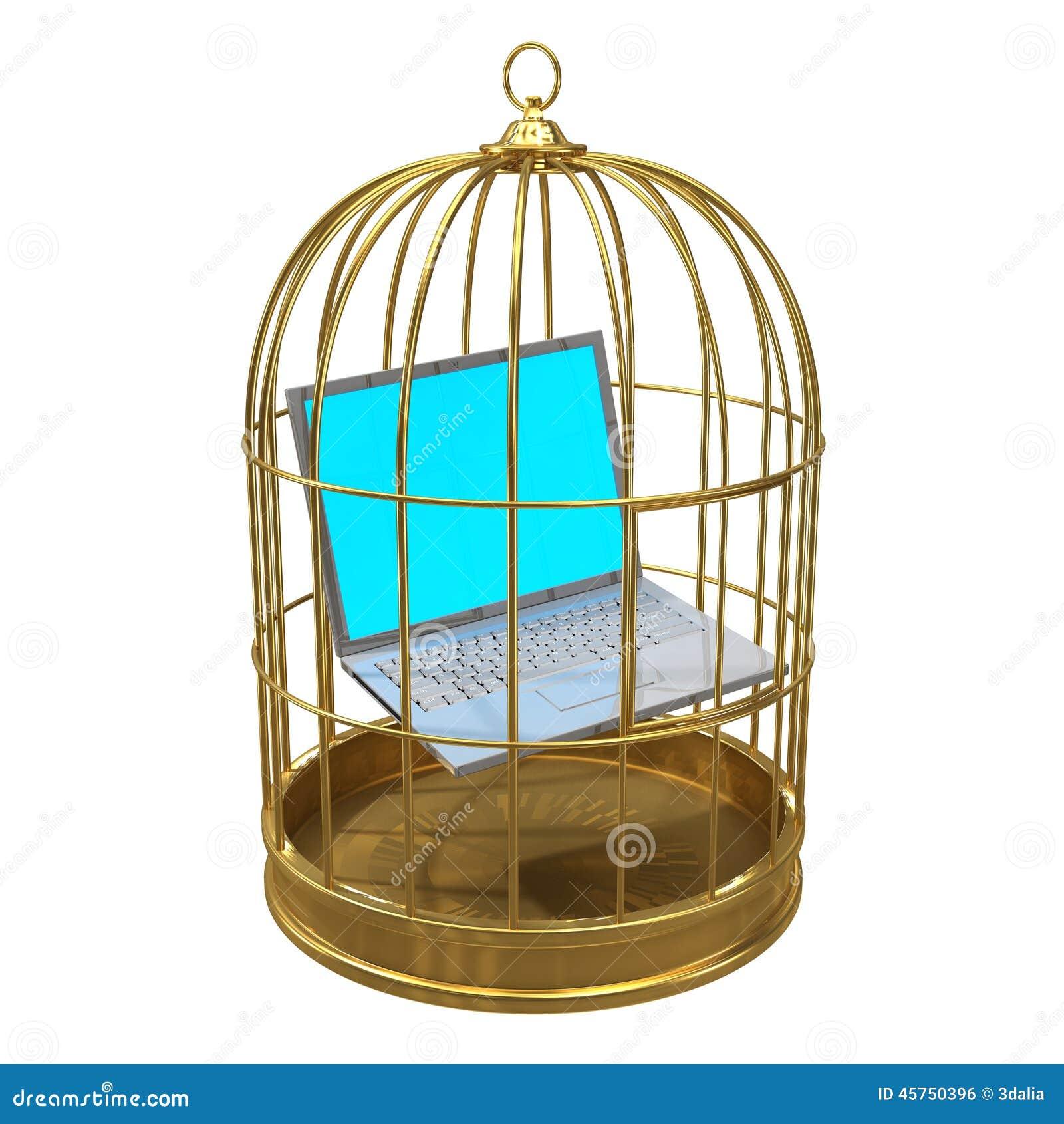 PC do portátil 3d prendido em um birdcage