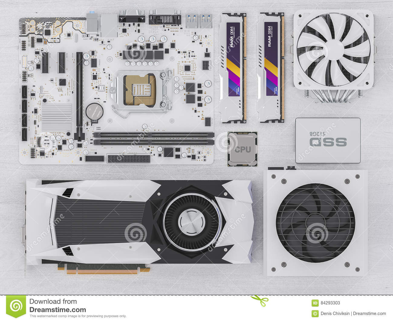 PC hardware components on white wood. 3d rendering